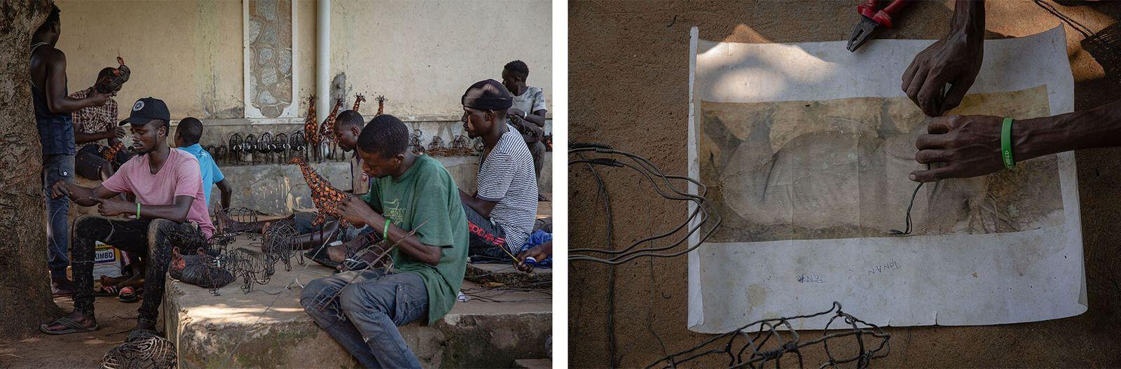 Esquerda: Artesãos da Snares to Wares concentrados no artesanato. Todos os artesãos vivem nas comunidades em ...