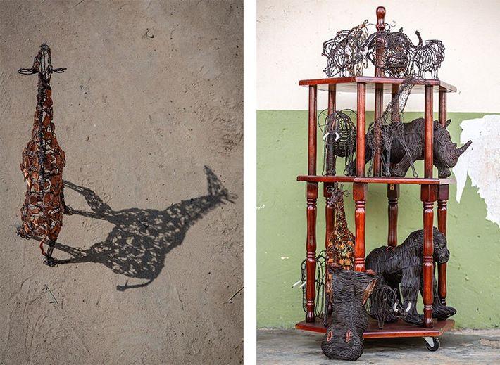 Esquerda: Esta escultura de uma girafa é uma das 800 que a organização sem fins lucrativos ...