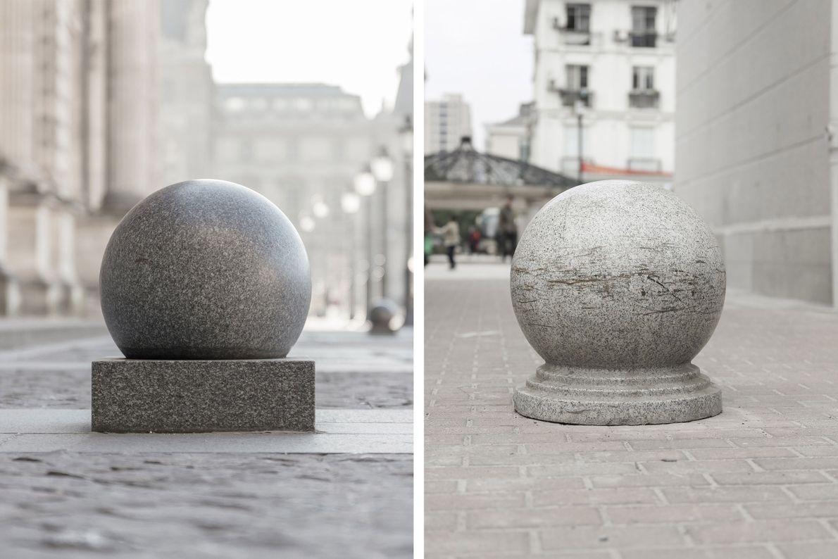Uma variação das barreiras de pedra nas ruas de Paris (à esquerda), nos passeios de Tianducheng ...