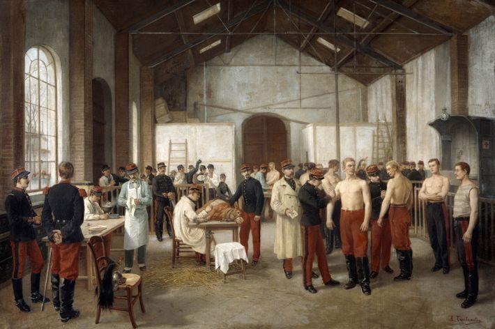 """""""Vacinação"""", quadro de 1895 do pintor francês Alfred Touchemolin. Esta pintura retrata a vacinação de recrutas ..."""