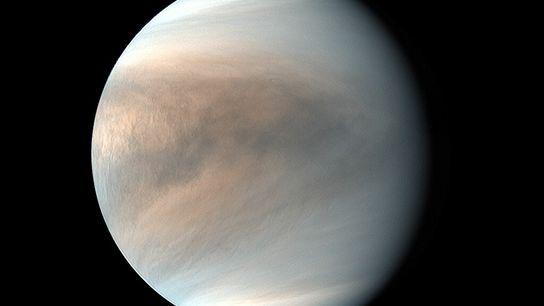 Uma imagem de cor falsa de Vénus, obtida em luz ultravioleta pela sonda Akatsuki do Japão, ...