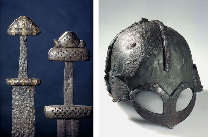 Os artefactos vikings, como estas espadas e elmos vindos da atual Noruega, ajudam os arqueólogos a ...