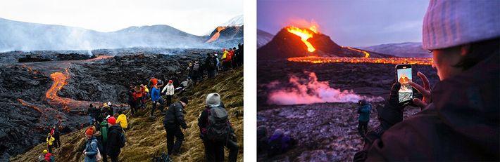 turistas no vulcão Fagradalsfjall