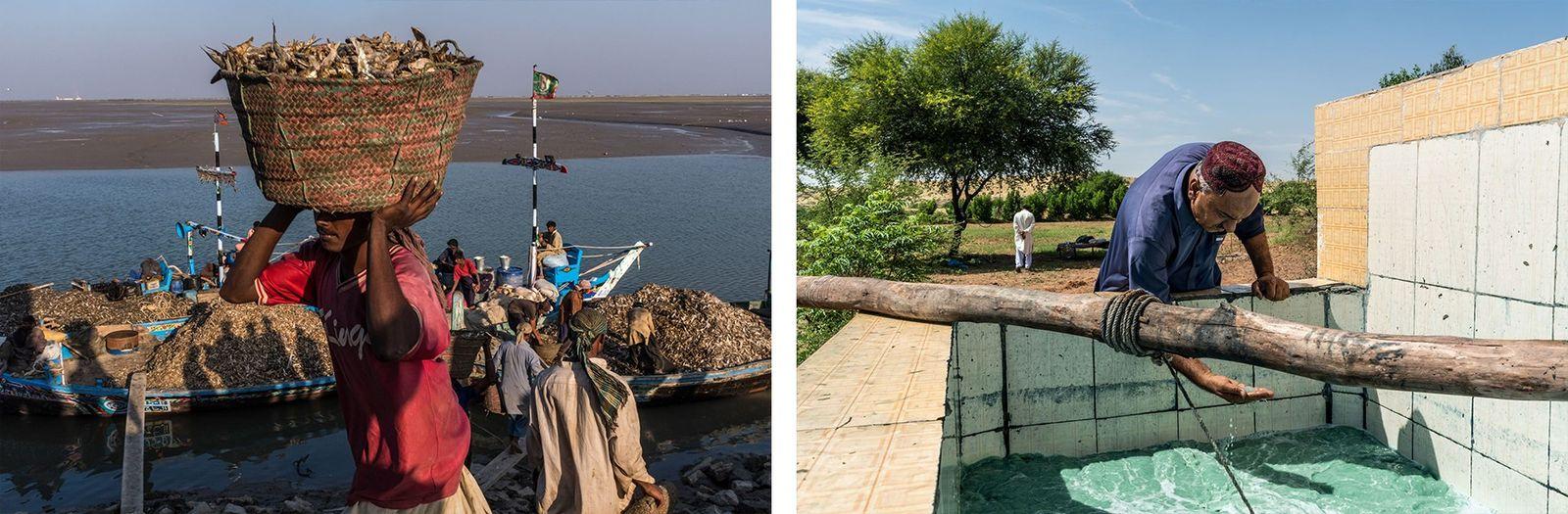 PAQUISTÃO Esquerda: Com tanta água do rio Indo desviada para irrigação, os pescadores de Keti Bandar, no ...