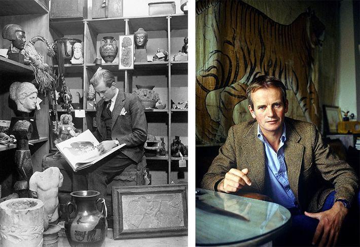 Esquerda: Nesta fotografia tirada na véspera de Natal de 1960, Bruce Chatwin, de 20 anos, examina ...