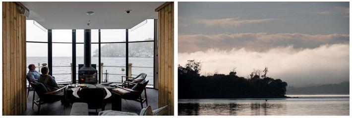 Esquerda: Inaugurada em 2015, a Pumphouse Point enquadra uma cena invernal no lago St. Clair. Esta ...