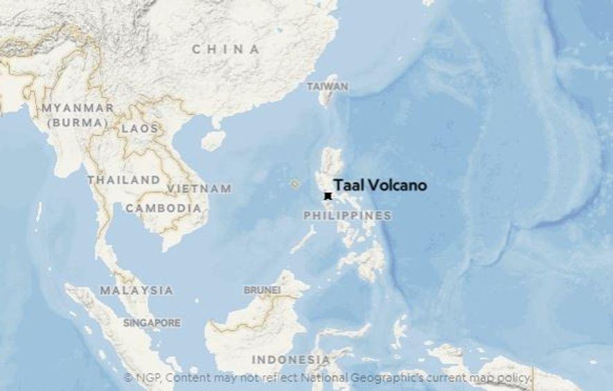 Localização do vulcão Taal, na ilha de Luzon.