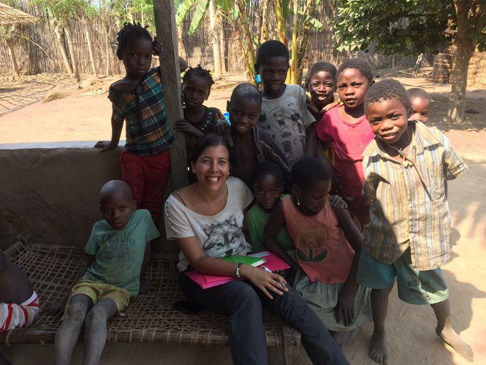 Joana Pereira com uma das comunidades.
