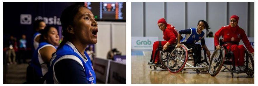 Esquerda: Sieng Sokchan, treinadora da seleção do Camboja, assiste ao jogo contra o Irão. Direita: A seleção ...