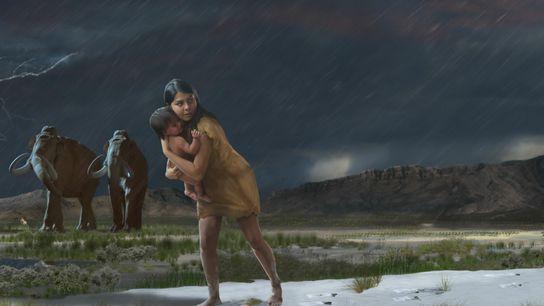 Há mais de 10 mil anos, uma mulher ou um jovem transportou uma criança por uma ...