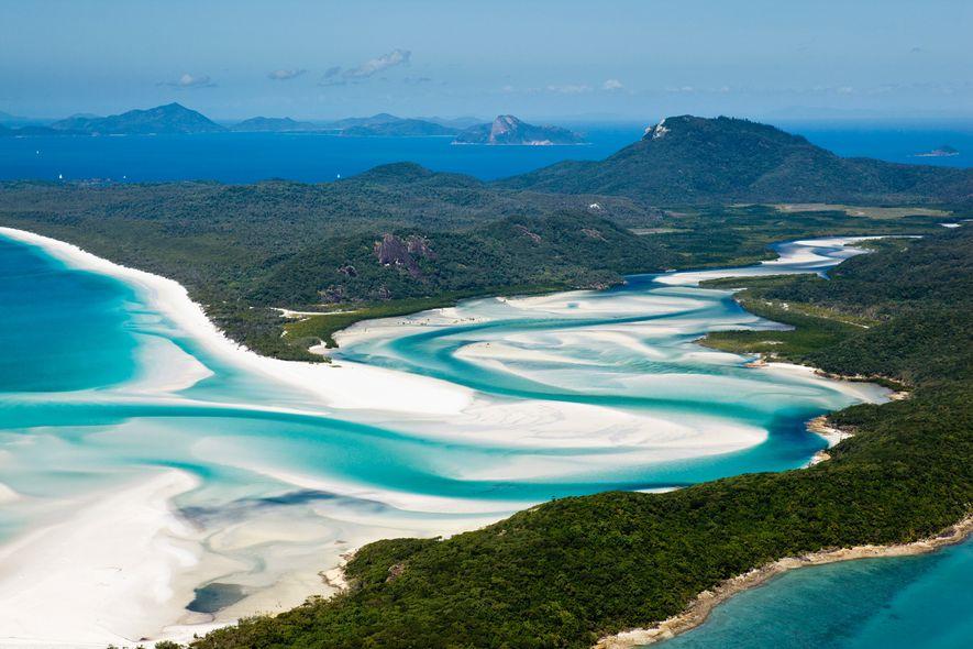 Vista aérea de Hill Inlet e Whitehaven Beach. Ilha Whitsunday, Whitsundays, Queensland, Austrália.