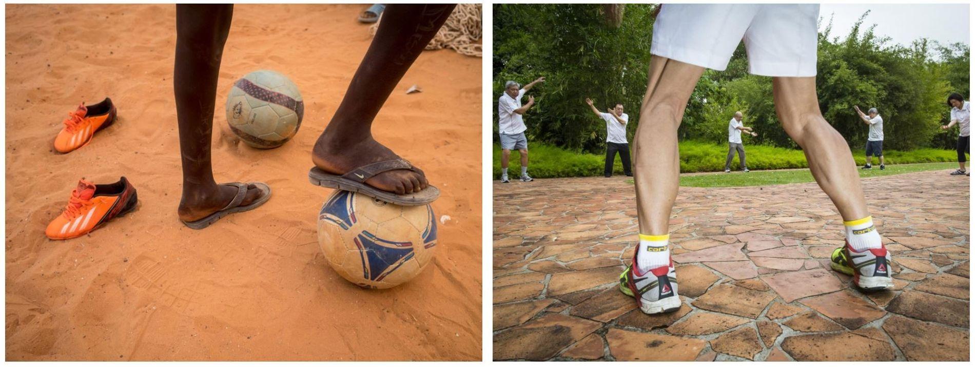 Esquerda: Uma sessão da fundação FutbolNet no Complexo Desportivo Centre Olympafrica Juan Antonio Samaranch, no Senegal. Direita: ...