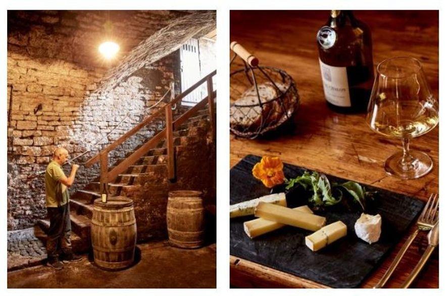 Esquerda: Na Domaine Jacques Tissot, em Arbois, o filho do fundador, Philippe, prova um dos vinhos. Direita: ...