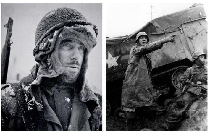 Esquerda: No pico do inverno, sem roupas adequadas, um soldado agasalha-se com tudo o que conseguiu ...