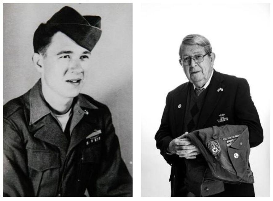 Esquerda: Vernon Brantley, na altura com 20 anos, usa orgulhosamente o seu Distintivo de Ação de ...