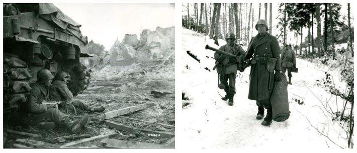 Esquerda: Soldados da 9ª Divisão de Infantaria dos EUA fazem uma pausa para fumar atrás de ...